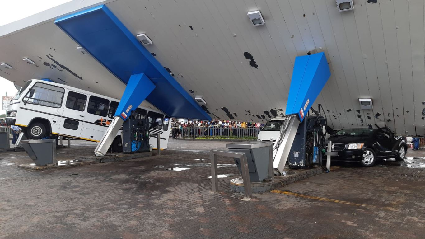 Service station roof collapse leaves two injured in Sharpville